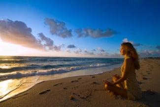 Deep meditation on the beach